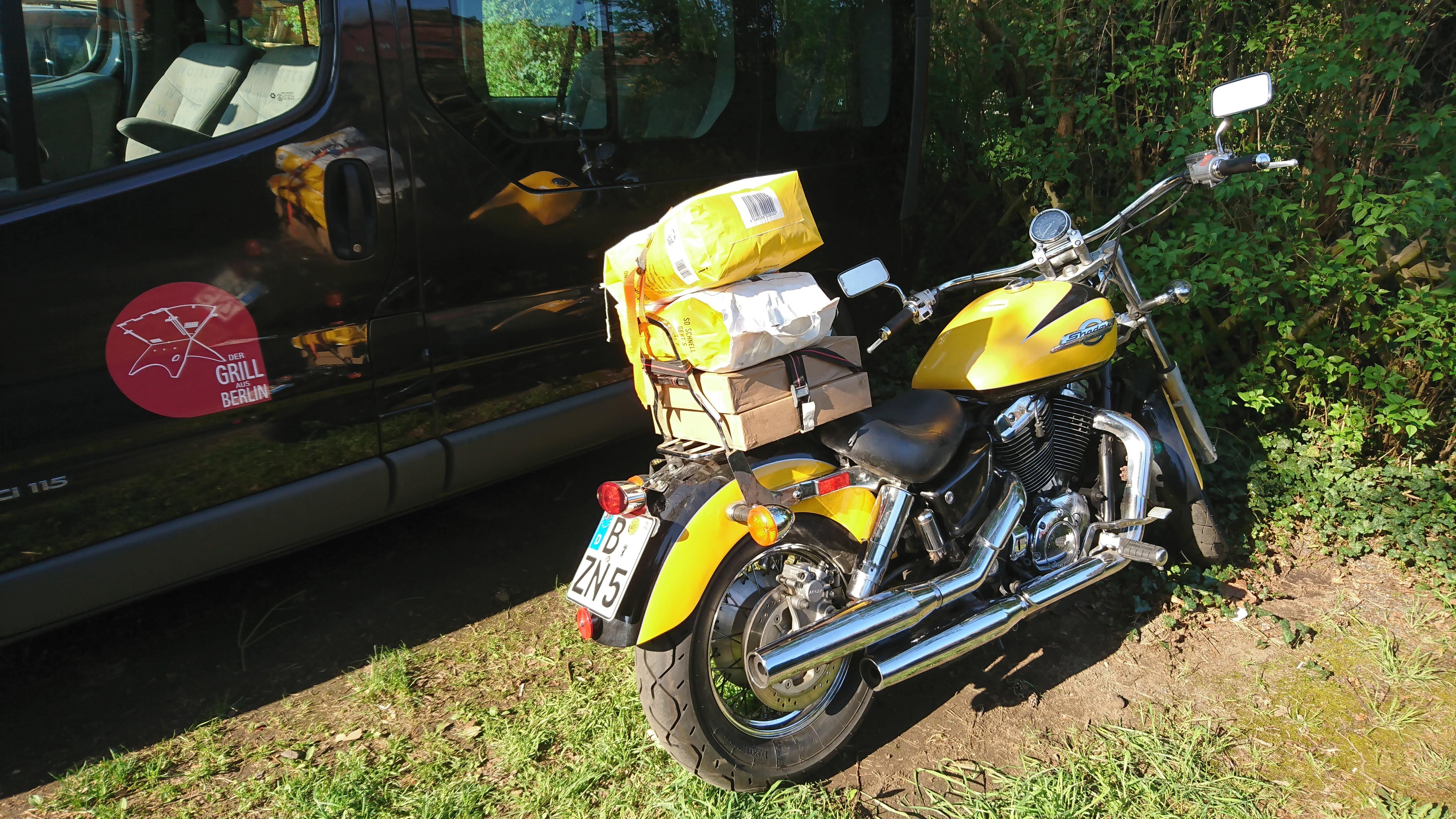 Grill auf dem Motorrad